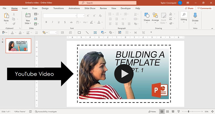 Example of a YouTube video embedded in PowerPoint