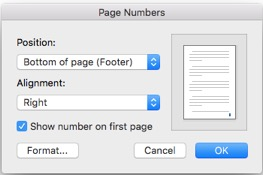 Page numbers dialog box