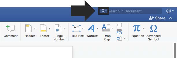 select the magnifying glass to find and replace in Word