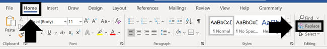Navigate to the Home tab and select the replace command in Word to open the find and replace dialog box