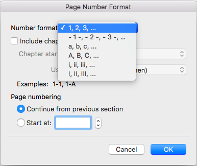 Page number formats