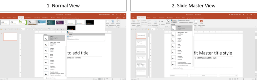 You can change the font combinations for your presentation either in the Normal view or Slide Master view