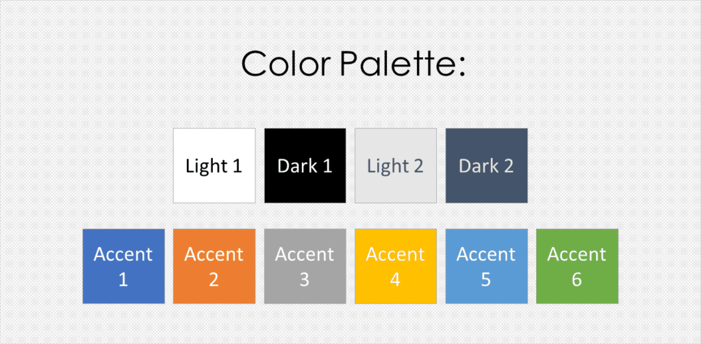 A picture of the different colors you can choose as part of creating a PowerPoint theme