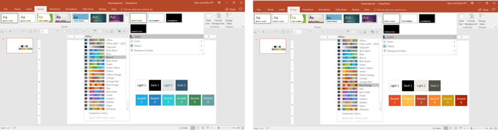 Hovering over color palettes gives you a live preview of those colors inside of your PowerPoint presentation
