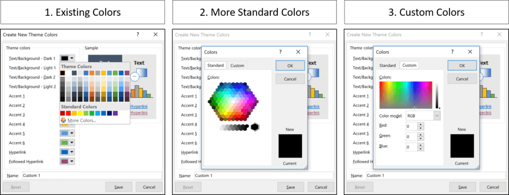 The three options for selecting a new color for your PowerPoint theme, existing colors, more standard colors and custom colors