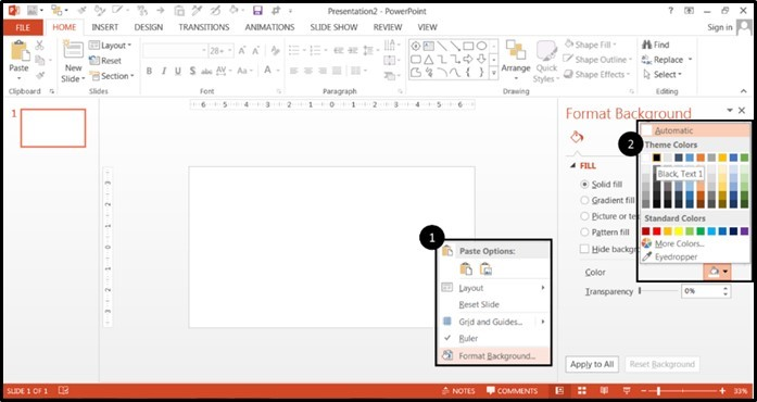 PowerPoint Falling Snow Animation Part 1 Step #2 - Change the background Color of the Slide 2
