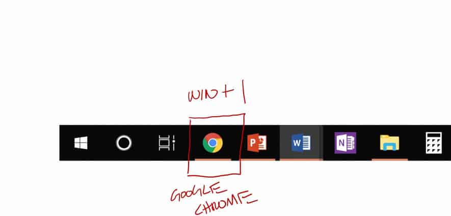 Example of setting up the Windows plus 1 shortcut on your taskbar