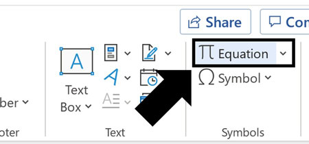 Click the Equation command to insert a Math Region