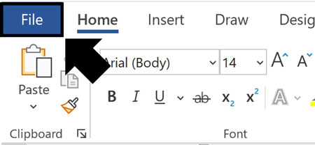 Click the file tab in Microsoft Word