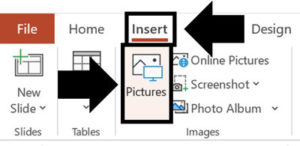 To insert a picture into PowerPoint click the Insert tab and then click the Pictures command