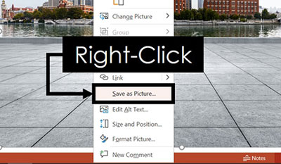 Right-click your image in PowerPoint and select Save as Picture