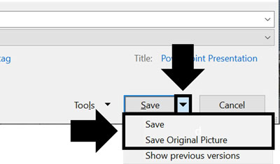 Open the additional save options and choose either save (which automatically compresses your image) or Save Original Picture