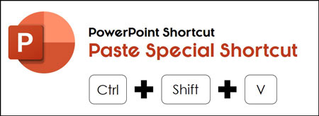 The paste special PowerPoint shortcut is control plus shift plus v on your keyboard