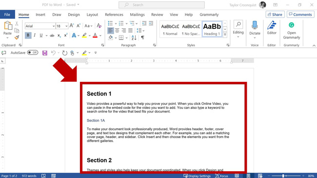 Review your new Word document to make sure it converted properly