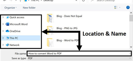 Choose a file name and location to export your Word document as a PDF to