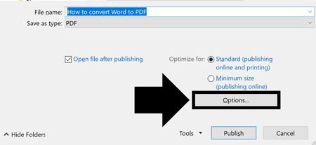 Select any advanced options you want, like creating bookmarks from your headings