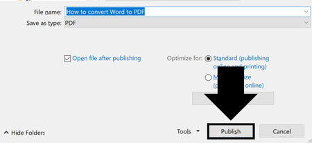 Click Publish to export to the PDF file format