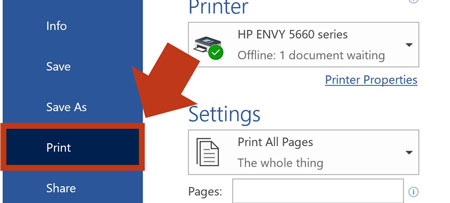 Click the File tab in word and then select Print