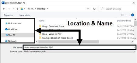 Choose a file name and location to print your Word document as a PDF to your computer