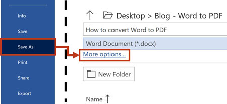From the file tab, click save as and more options
