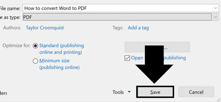 Click save to save Word as a PDF
