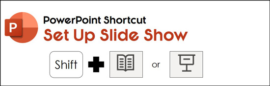 Hold the shift key and click either the reading view icon or the slide show icon to open the set up show dialog box