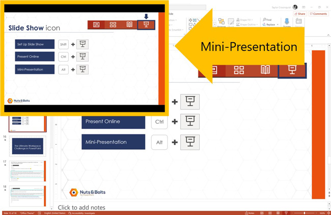 Example running a mini-slide show presentation in PowerPoint