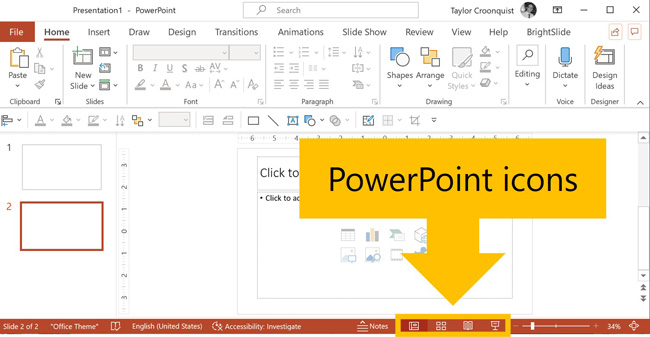 PowerPoint icons at the bottom of your PowerPoint workspace