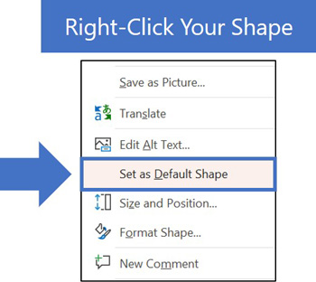 Right click your shape in PowerPoint and select set as default shape
