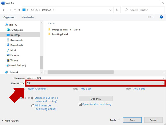 Change your Save As file type to PDF