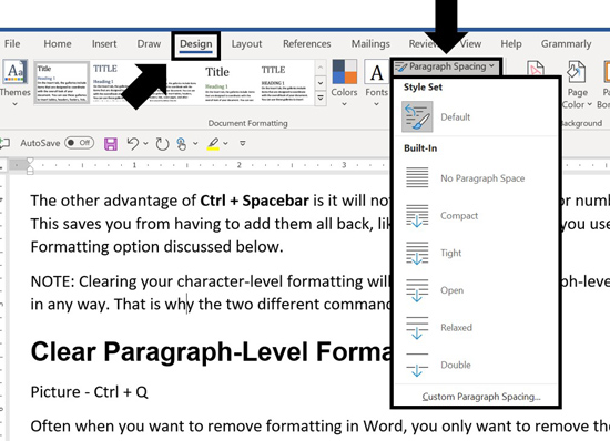 On the Design tab open the paragraph spacing dropdown to see your paragraph spacing