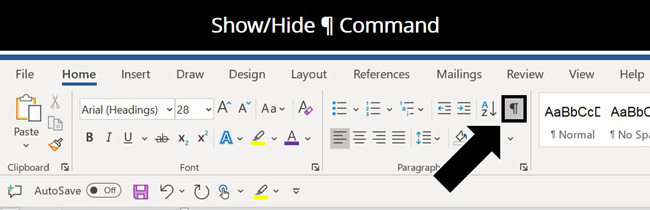 The show hide paragraph symbol command in the Microsoft Word ribbon