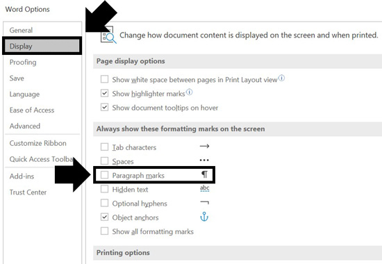 Using the paragraph symbol in the Word Options dialog box to get rid of paragraph spacings