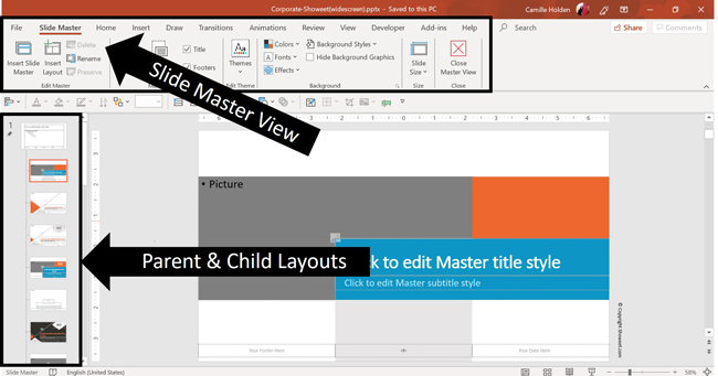 View of the Slide Master area for the Corporate template by Showeet
