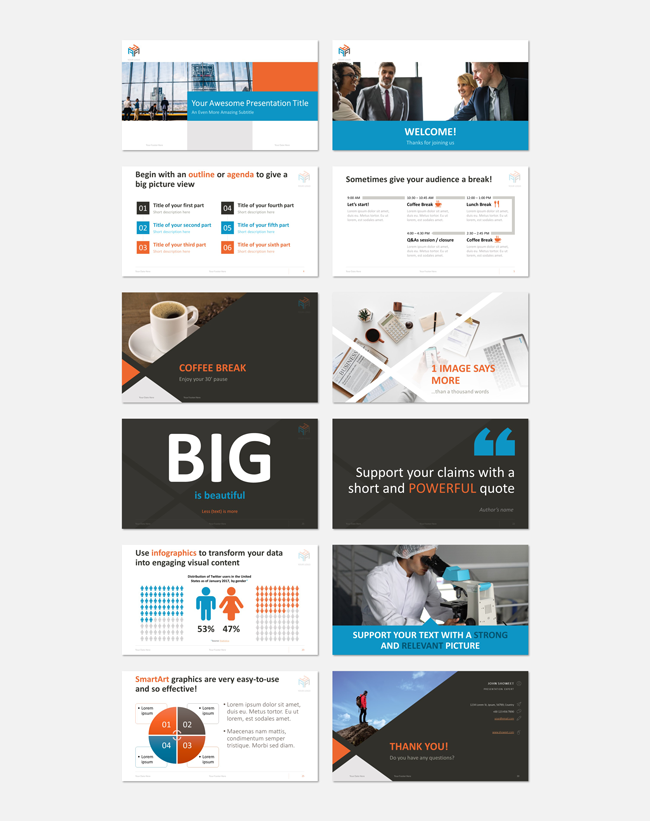 Example slides from the Corporate template by Showeet