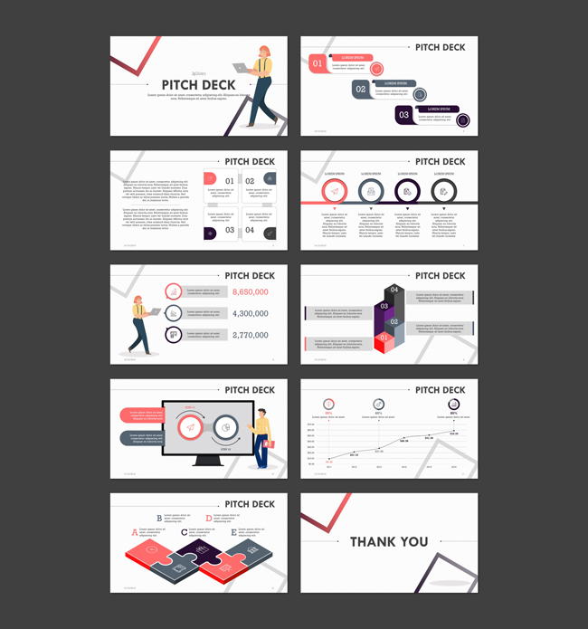 Example slides from the Playful Pitch template by 24Slides