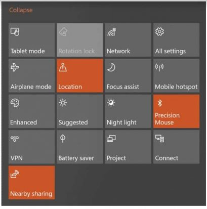 Image of the Windows Action Center in Windows 10